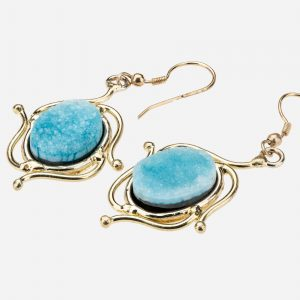 Tara Mesa Blue Druzy Earrings Crafted in German Silver with an Accent of Brass