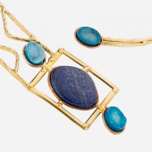 Tara Mesa Blue Druzy & Lapis Collar Necklace Crafted in Brass with an Accent of Copper