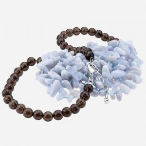 Tara Mesa Blue Lace Agate and Smoky Quartz Bead Necklace