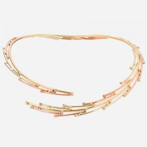 Tara Mesa Bypass Collar Necklace Crafted in Gleaming German Silver, Brass and Copper