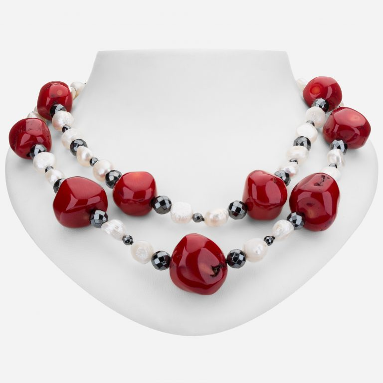 Tara Mesa Coral, Hematite and Freshwater Pearl Bead Necklace