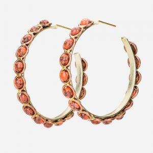 Tara Mesa Coral Hoop Earrings Crafted in German Silver with an Accent of Brass and Copper