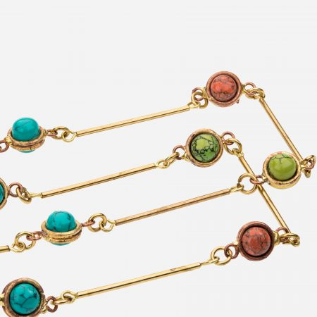 Tara Mesa Coral and Turquoise Necklace Crafted in Brass with an Accent of Copper