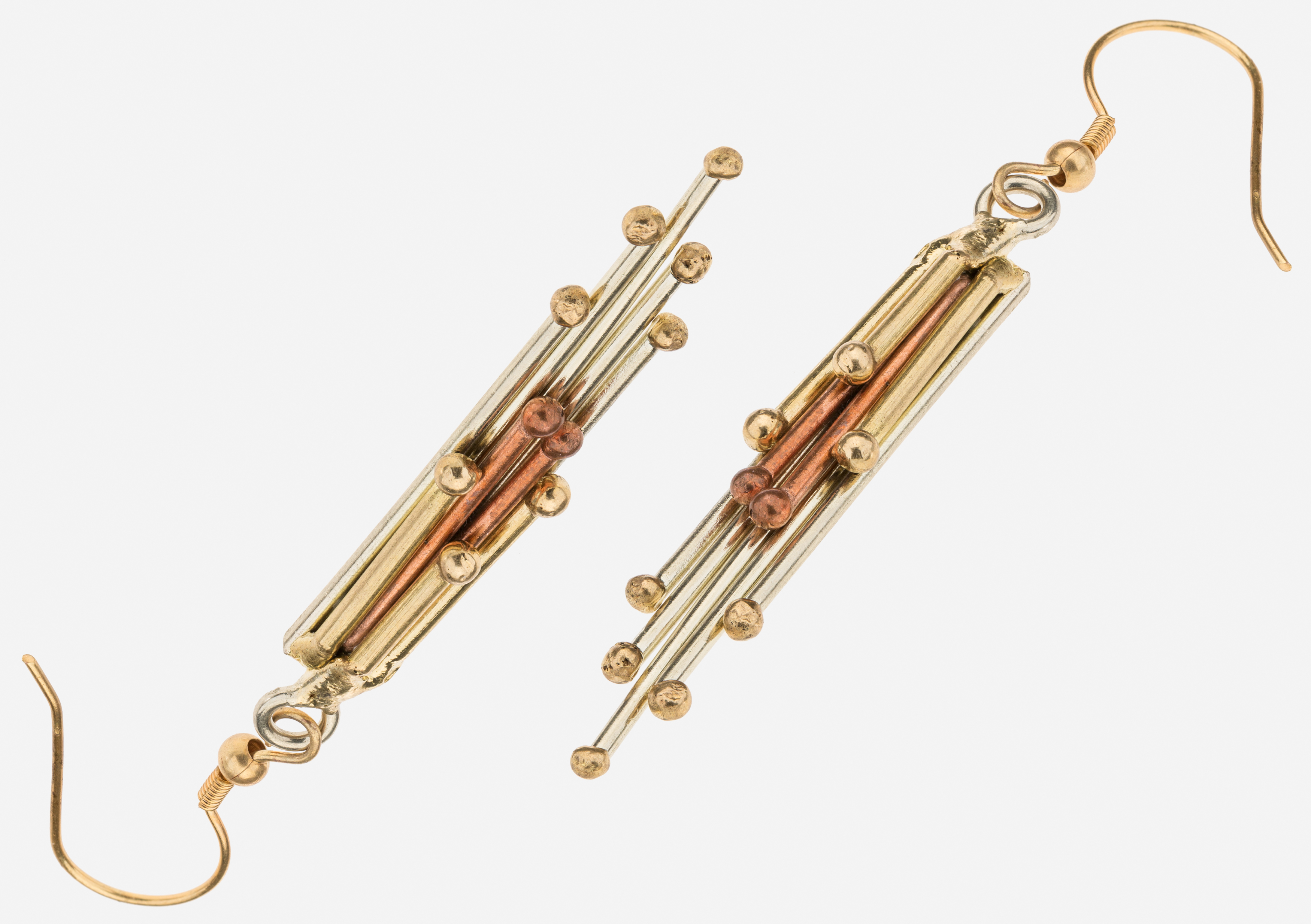 Tara Mesa Dangle Earrings Crafted in German Silver, Brass and Copper