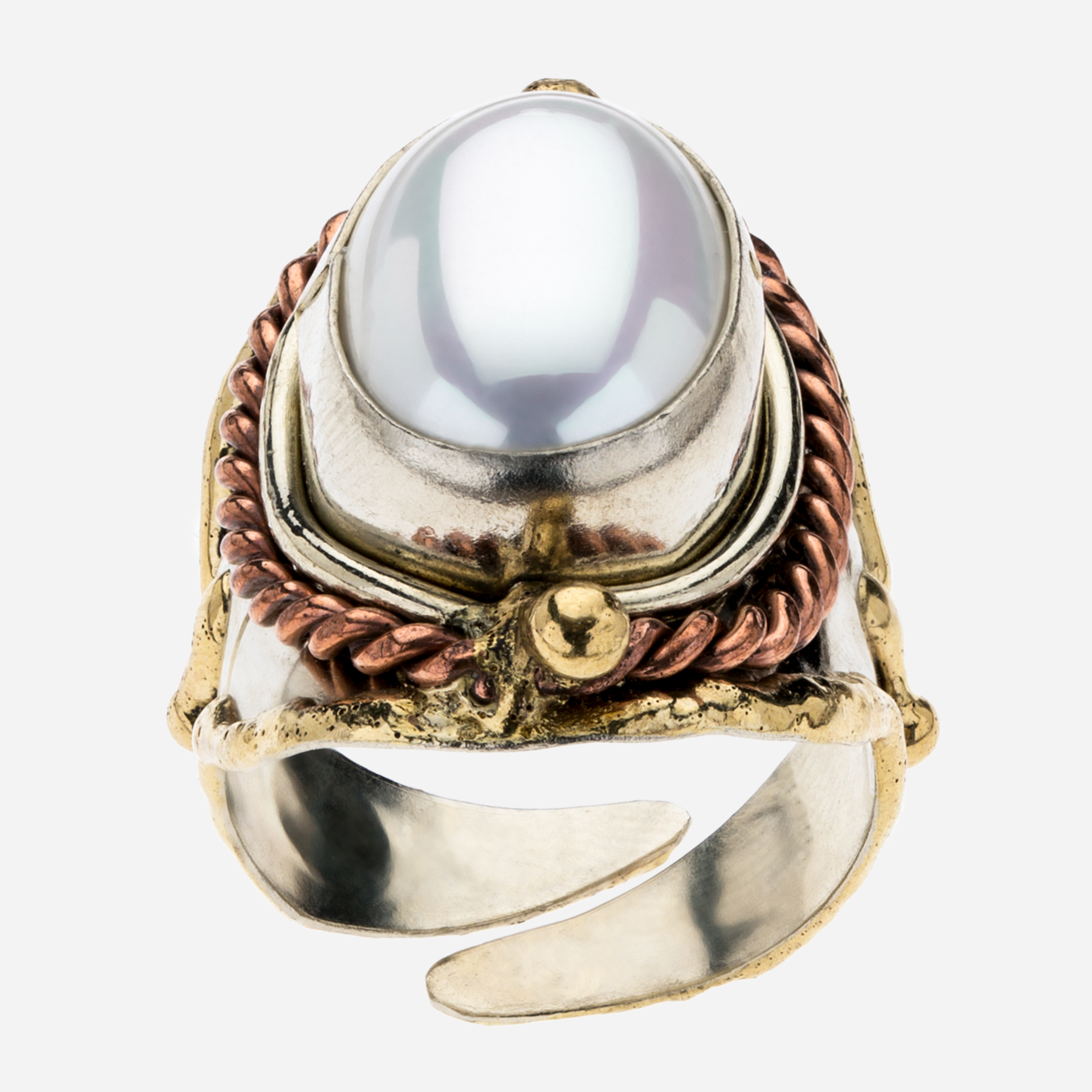 Tara Mesa Freshwater Pearl Ring Crafted in German Silver—with an accent of Brass and Copper
