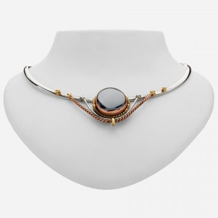 Tara Mesa Hematite Collar Necklace Crafted in Gleaming German Silver with an Accent of Brass and Copper