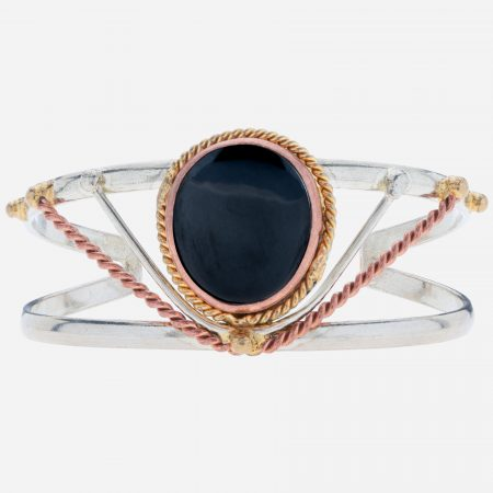 Tara Mesa Hematite Cuff Crafted in German Silver- with an Accent of Brass and Copper