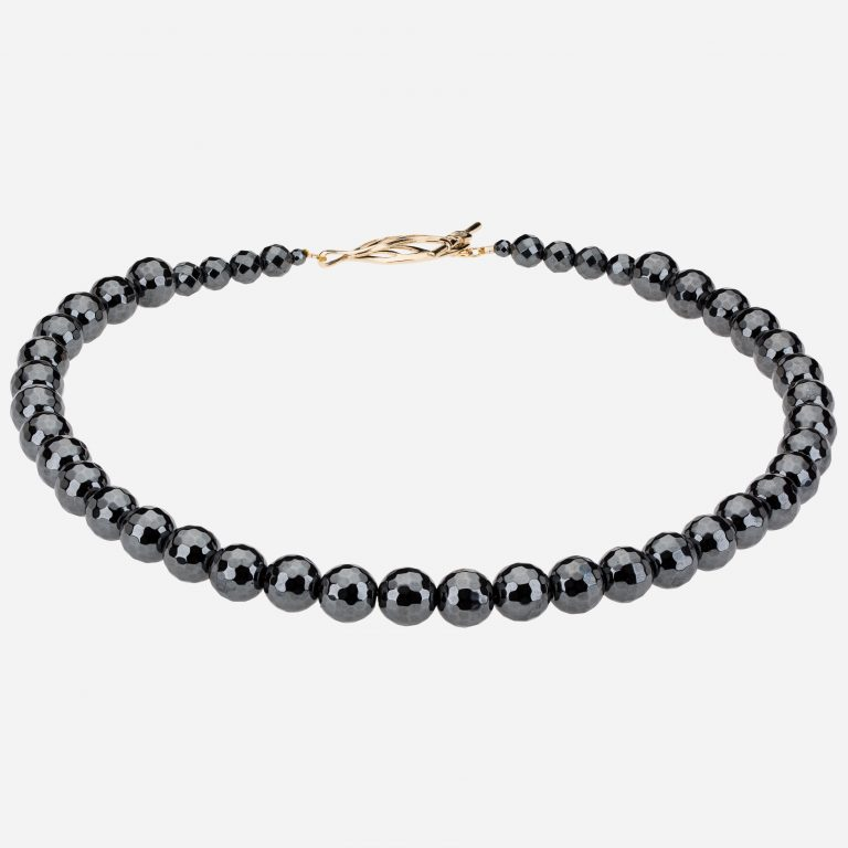 Tara Mesa Hematite Faceted Beads Necklace with Sterling Silver Toggle Closure