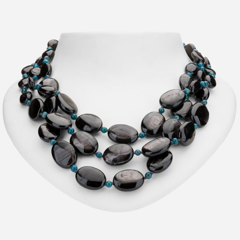 Tara Mesa Hypersthene and Apatite Bead Necklace
