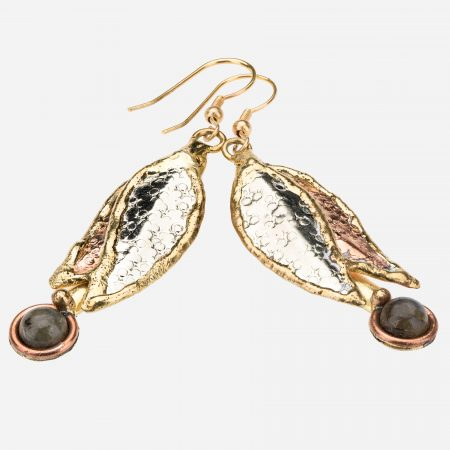 Tara Mesa Labradorite Leaf Earrings Crafted in German Silver—with an Accent of Brass and Copper