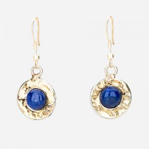Tara Mesa Lapis Earrings Crafted in German Silver and Brass