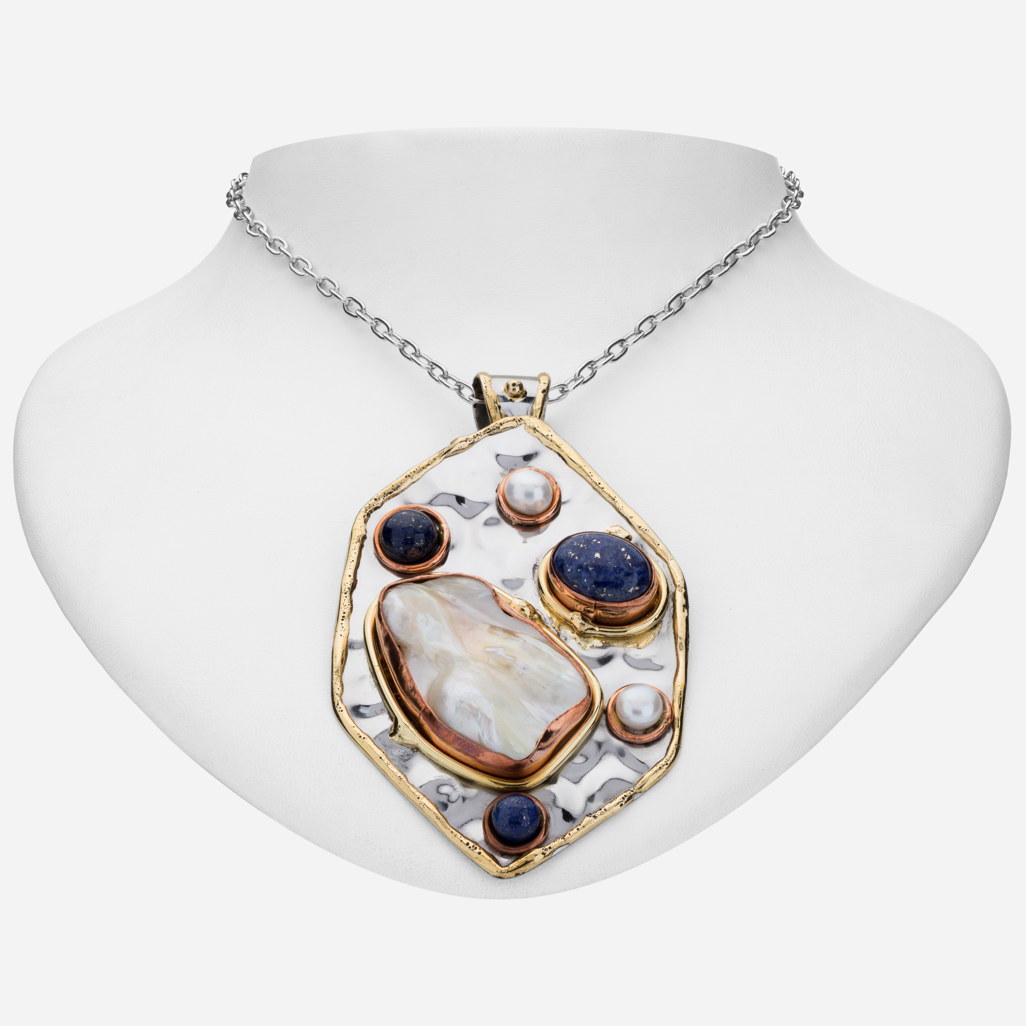 Tara Mesa Lapis and Pearl Pendant Crafted in German Silver—with an Accent of Brass and Copper