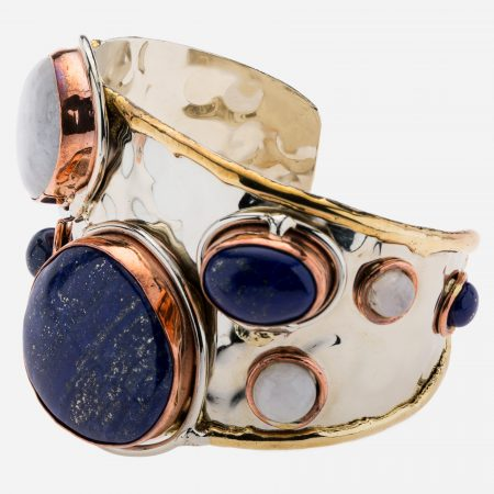 Tara Mesa Lapis and Rainbow Moonstone Cuff with German Silver with an Accent of Brass and Copper