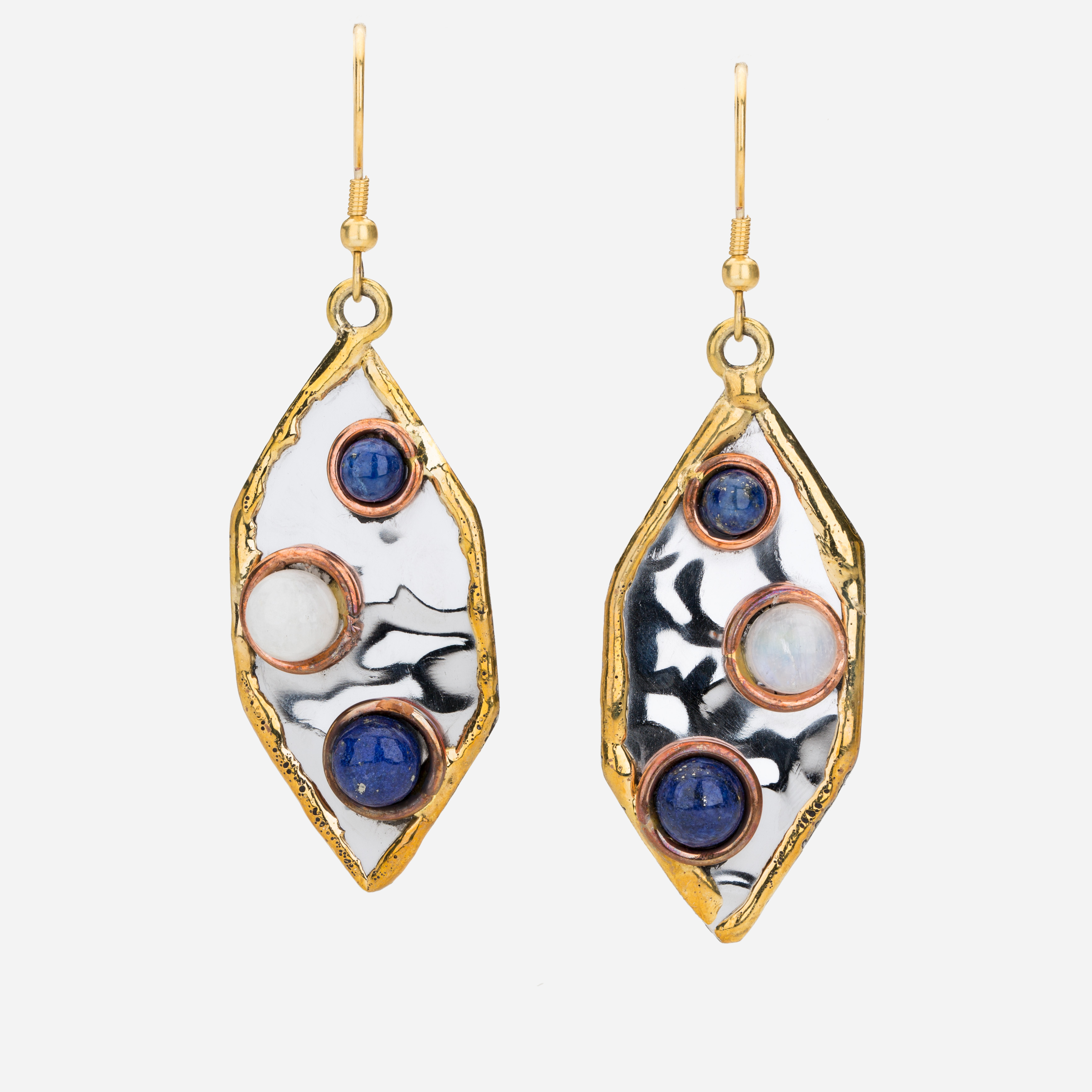 Tara Mesa Lapis and Rainbow Moonstone Earrings Crafted in German Silver with an Accent of Brass and Copper