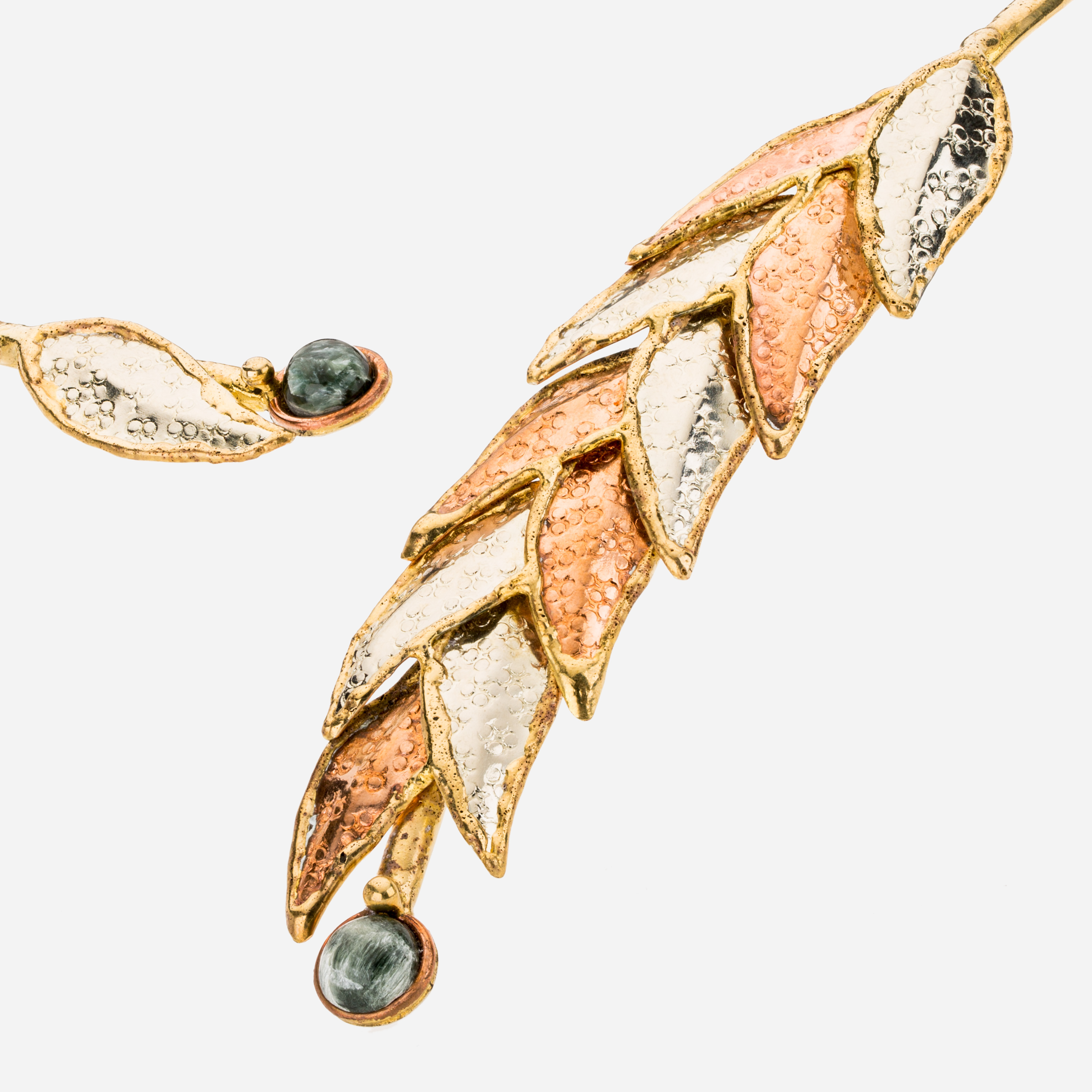 Tara Mesa Moss Agate Leaf Collar Necklace Crafted in German Silver—Brass and Copper
