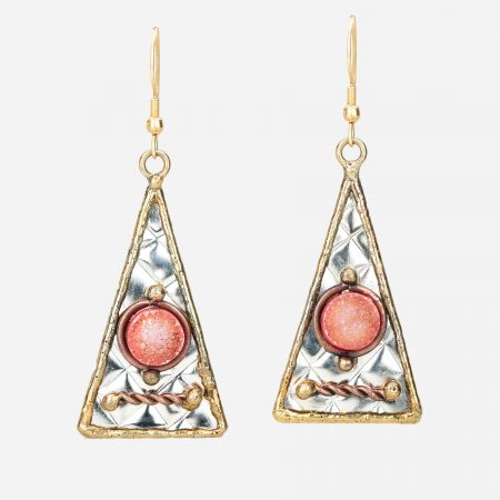 Tara Mesa Orange Druzy Earrings Crafted in German Silver with an Accent of Brass and Copper