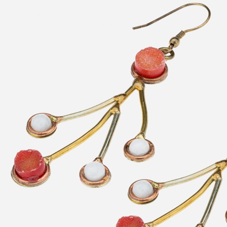 Tara Mesa Orange Druzy and Rainbow Moonstone Earrings Crafted in German Silver, Brass and Copper