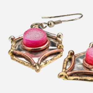 Tara Mesa Pink Druzy Earrings Crafted in German Silver with an Accent of Brass and Copper