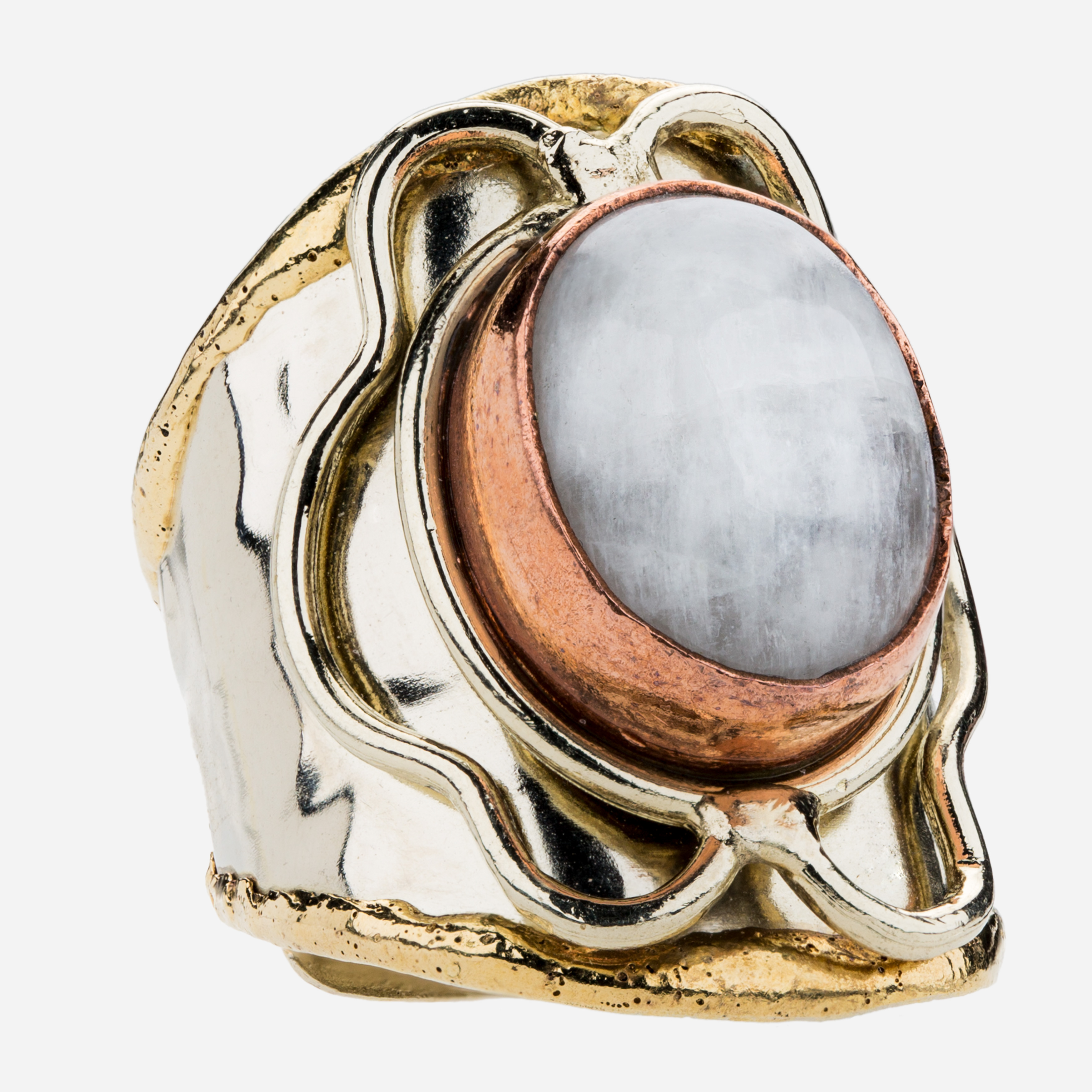 Tara Mesa Rainbow Moonstone Ring Crafted in German Silver—with an accent of Brass and Copper