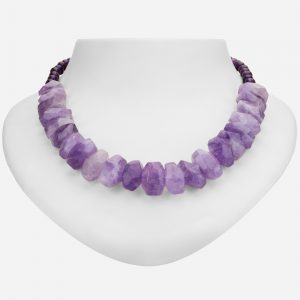 Tara Mesa  Rough Amethyst and Round Amethyst Bead Necklace