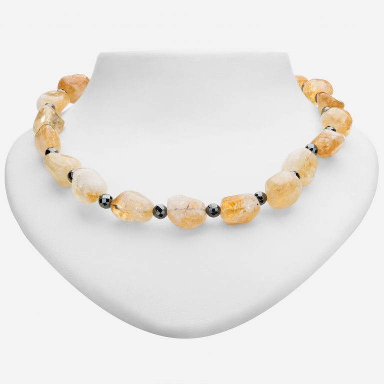 Tara Mesa Rough Citrine and Hematite Bead Necklace