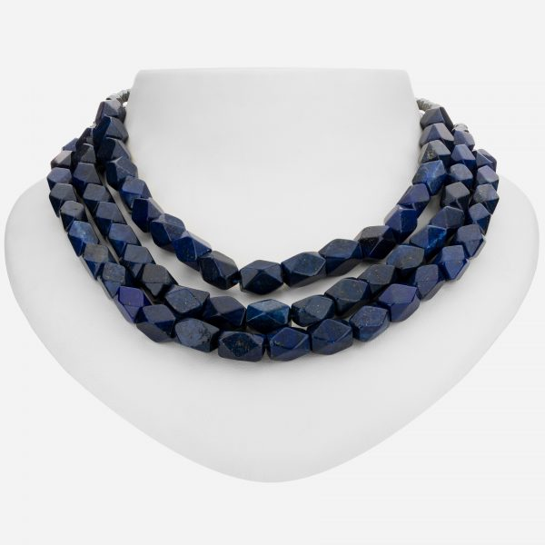 "Tara Mesa Sterling Silver 18"" Multi-strand Lapis Lazuliand Faceted Hematite Bead Necklace"