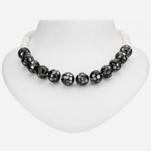 """Tara Mesa Sterling Silver 19"""" Grey Mosaic Mother-of-Pearl Shell and White Beaded Necklace"""