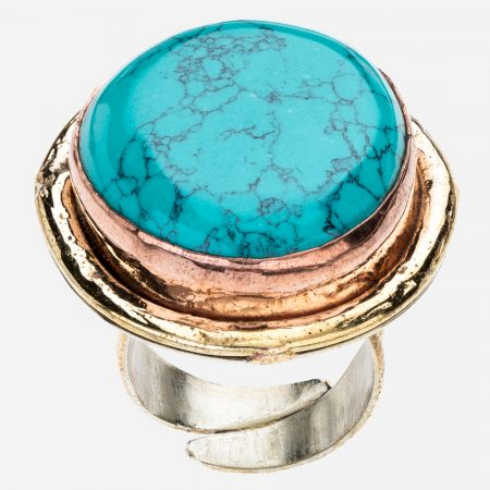Tara Mesa Turquoise Ring Crafted in German Silver with an Accent of Brass and Copper
