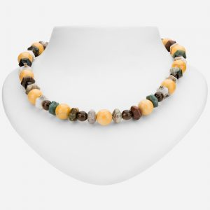 Tara Mesa Yellow Jasper, Ocean Jasper and Smoky Quartz Bead Necklace