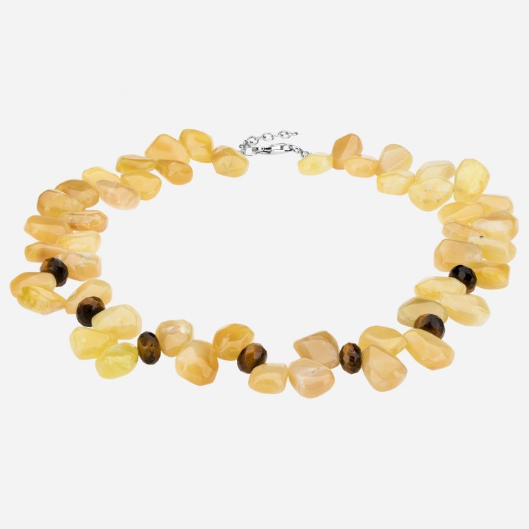Tara Mesa Yellow Jasper and Tiger's Eye Roundel Bead Necklace