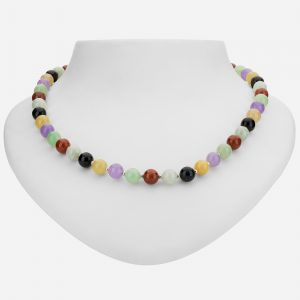 "Tara Mesa green, black, yellow, red and lavender jade with 14k gold plated beads 18"" necklace"