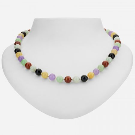 """Tara Mesa green, black, yellow, red and lavender jade with 14k gold plated beads 18"""" necklace"""